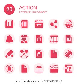 action icon set. Collection of 20 filled action icons included Cradle, File, Clapperboard, Share, Athlete, Bell, Ninja, Newtons cradle, Cricket, Oar, Skii, Punching bag