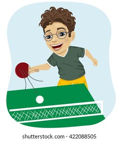 action illustration of nerd boy playing table tennis