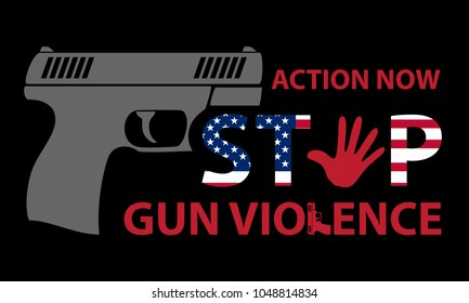 Action now stop gun violence poster, Gun violence prevention poster, No more guns card