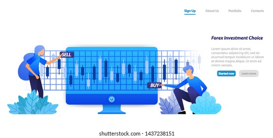 action on a financial investment buy sell or loss profits is risk in stock forex investment decisions. flat illustration concept