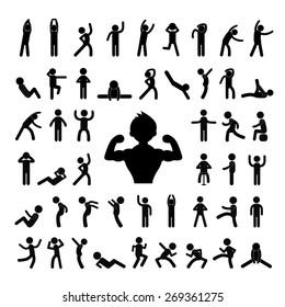 action people symbol set on white background