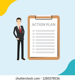 action plan businessmen with checklist to do on the paper list on the clipboard - vector illustration