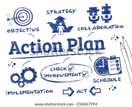 Action Plan | Action Plan Chart Keywords Icons Stock Vektorgrafik Lizenzfrei