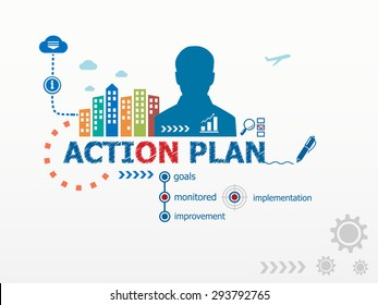 Action Plan concept and business man. Flat design illustration for business, consulting, finance, management, career.