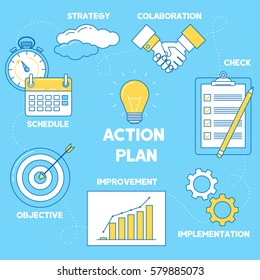 Action plan illustration. Line design strategy, collaboration, implementation and improvement