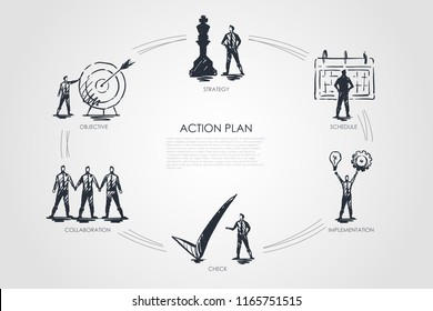 Action plan - strategy, collabororation, check, implementation, objective concept. Hand drawn isolated vector.