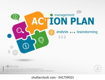Action plan word cloud on colorful jigsaw puzzle. Infographic business for graphic or web design layout