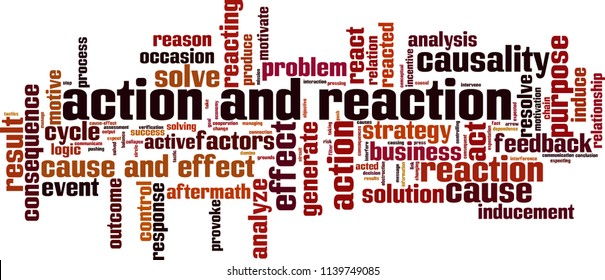 Action and reaction word cloud concept. Vector illustration