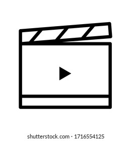Action, ready to film, ready to shoot thin line icon isolated on white background EPS Vector