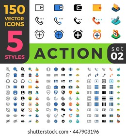 Action and settings web mobile UI vector icon set in Linear outline flat isometric styles. Five types software and website symbols of 2d and 3d objects. App user interface elements collection.