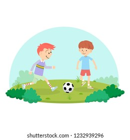 An action sport vector of a group of kids playing soccer football for exercise in school playground.