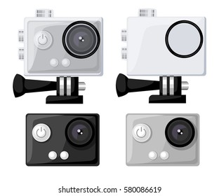 Action vector camera icons  set flat style Realistic vector illustration. Gear for filming active rest.