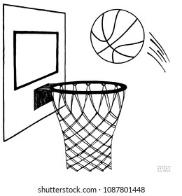 Action vector illustration of basketball going into a hoop. Backboard, hoop, ring, net, kit. Hand drawn sketch. Black on white background