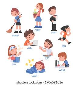 Action Verbs Set, Children Education Concept, Cute Kids Doing Activities Cartoon Style Vector Illustration