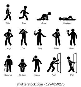 Action verbs stick figure man walking, running, crawling, lying down, laughing, crying, singing, thinking, reading, standing up, sitting down, listening, pushing, pulling vector icon set