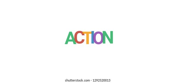 """Action word concept. Colorful """"Action"""" on white background. Use for cover, banner, blog."""