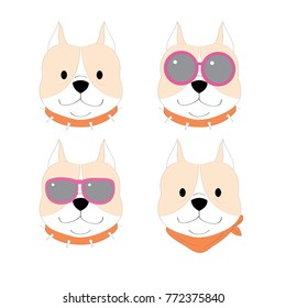 Actions cartoon cute pitbull dog vector.