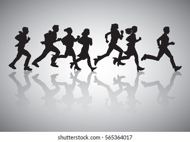 Active business people run start marathon silhouette black. Monochrome vector illustration. EPS10