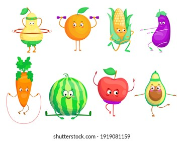Active cartoon fruit and vegetables set. Pear, apple, avocado, watermelon, carrot doing sport exercises. Vector illustrations for healthy lifestyle, nutrition for activity, wellness concept
