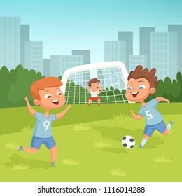 Active children playing football outdoor. Soccer game, young child, play with ball. Vector illustration