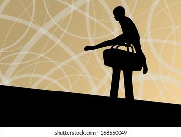Active children sport silhouette on pommel horse vector abstract background illustration