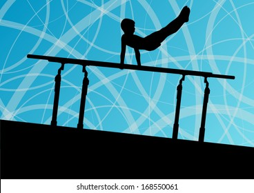 Active children sport silhouette on parallel bars vector abstract background illustration