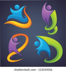 active colorful people with ribbons in hands, vector collection of sportive symbols on dark background
