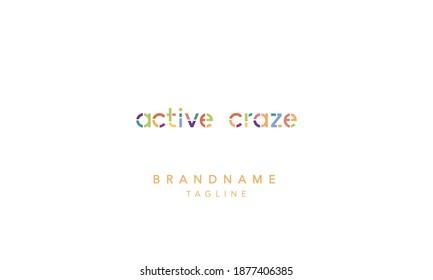 ACTIVE CRAZE colorful Alphabet Letter Monogram Icon Logo design vector illustration