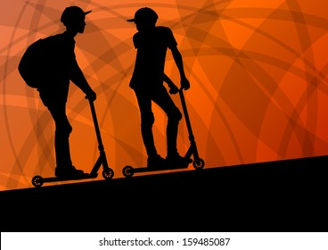 Active cyclists scooter riders active sport silhouettes vector background illustration