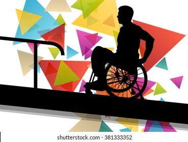 Active disabled man in a wheelchair medical health concept silhouette illustration background vector