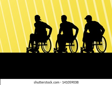 Active disabled men on a wheelchair detailed sport concept silhouette illustration background vector