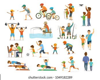 active family father and son activity collection set, man and boy play american football, soccer, baseball, flying drone, ride bike fishing exercise, arm wrestle running jogging walking hiking camping