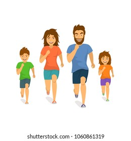 active family man woman boy girl parents and children running jogging together front view cartoon isolated vector illustration scene