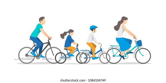 Active family vacation. Father, mother, son and daughter are riding on bicycles. Vector illustration.
