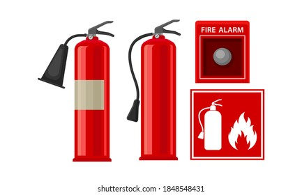 Active Fire Protection Devices with Fire Extinguisher and Fire Alarm Button Vector Set
