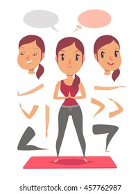 Active fitness girl jogging. Pack of body parts and emotions. Vector character illustration in cartoon style.
