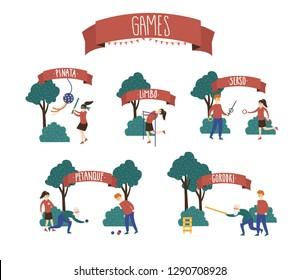 Active games on summer festival (jenga, twister, limbo, petanque, angry birds, pinata, ping-pong, gorodki, trampoline, serso)