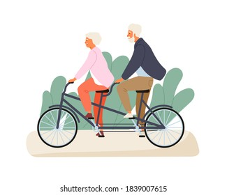 Active grandparents ride tandem bike in summer park. Elderly couple spend time together outdoors. Flat vector cartoon illustration of family recreation. Cheerful pensioners isolated on white