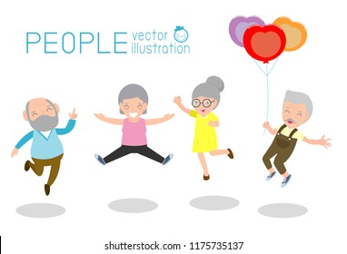 Active and happy old senior couple jumping, Group of elderly people jumping together, cartoon old people dancing with joy,flat vector illustration