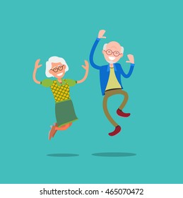 Active and happy old senior couple jumping, flat vector illustration