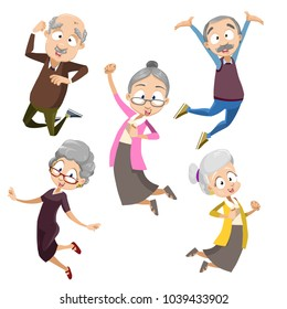 Active and happy old senior people jumping, Flat vector illustration. Elder senior character set collection