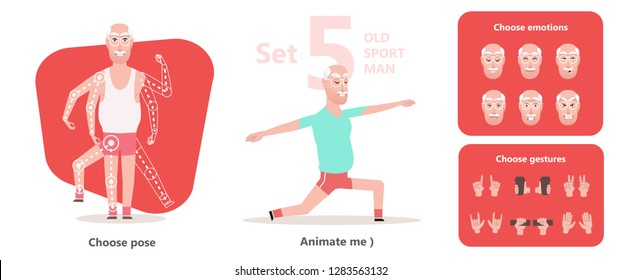 Active and healthy grandpa: cartoon man doing yoga and fitness. Set of isolated body parts for creating postures, emotions, gestures. . Cute and simple modern flat vector style. Vector