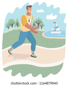 Active healthy runner or jogger is running outdoor on the nature. Guy practicing sport in the park. Vector cartoon illustration in modern concept
