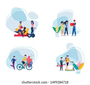 Active Healthy and Sport Time Recreation, Fall in Love from First Site, Fast Delivery Services Trendy Flat Set. Cartoon Vector People Walk and Ride Eco-Friendly Transport, Receive Parcels Illustration