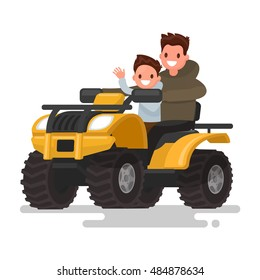 Active holidays. Quad biking. Man and boy are riding a quad bike. Vector illustration of a flat design