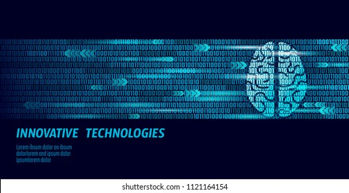 Active human brain artificial intelligence next level man menthal abilities. Big data binary numbers code.Technology augmented reality blue glowing. Symbol of wisdom vector illustration art