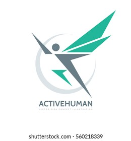 Active human character - vector business logo template concept illustration. Abstract man with wings. Creative sign. Design element.