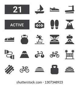 active icon set. Collection of 21 filled active icons included Bosu ball, Kettlebell, Bike, Skii, Volleyball net, Volcano, Chest expander, Eruption, Skater, Shoes, Shoe, Close
