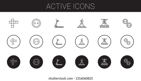 active icons set. Collection of active with hopscotch, button, treadmill, volcano, eruption, buttons. Editable and scalable active icons.