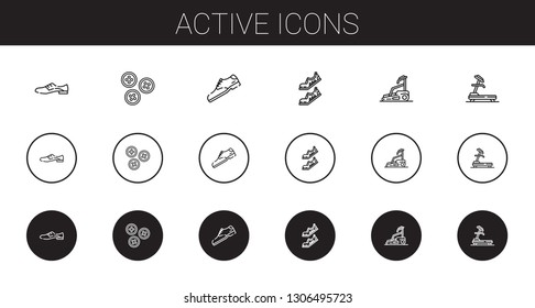 active icons set. Collection of active with shoes, buttons, shoe, treadmill. Editable and scalable active icons.